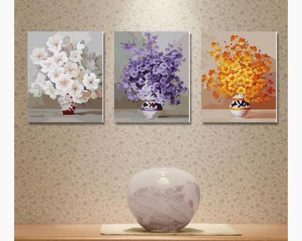 MS14030 картины по номерам Триптих. Нежные цветы DIY Babylon