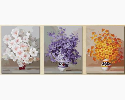 MS14030 картины по номерам Триптих. Нежные цветы DIY Babylon фото набора