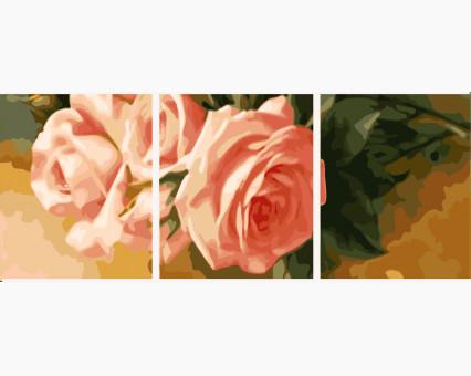 MS14048 картины по номерам Триптих. Нежные розы (вертикальная) DIY Babylon
