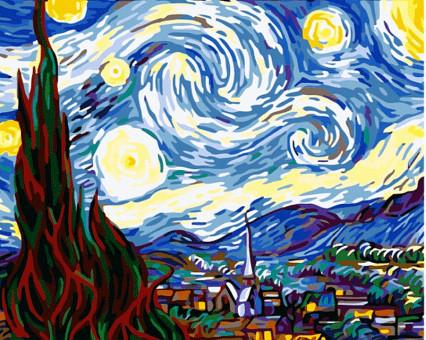 MS233 картина по номерам Звездная ночь DIY Babylon