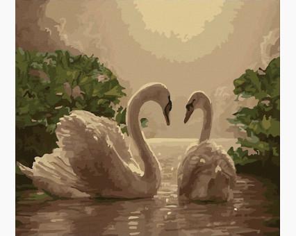 MS325 картина по номерам Любовь (лебеди) DIY Babylon