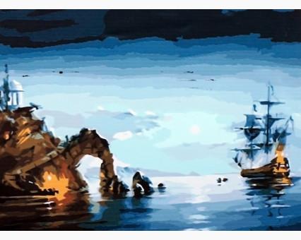 MS416 картина по номерам Лунная ночь (корабль) DIY Babylon