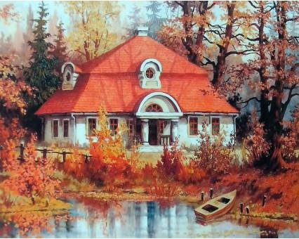 MS512 картина по номерам Осенний дом DIY Babylon