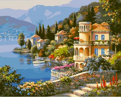 VP019 картина по номерам Цветущее побережье DIY Babylon