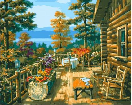 VP023 картина по номерам Терраса лесного домика DIY Babylon