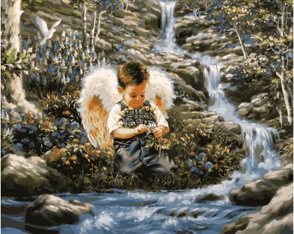 VP029 картина по номерам Ангел у ручья DIY Babylon