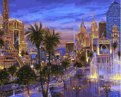 VP036 картина по номерам Вечер в Вегасе DIY Babylon