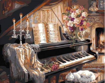 VP124 Картина по номерам Музыкальный вечер у камина Babylon