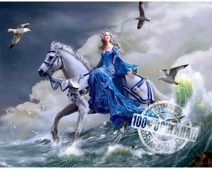 VP125 картина по номерам Девушка на лошади DIY Babylon фото набора