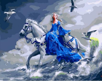 VP125 картина по номерам Девушка на лошади DIY Babylon