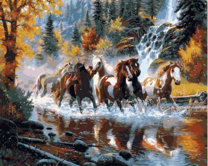 VP130 картина по номерам Дикие лошади DIY Babylon