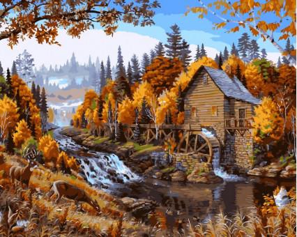 VP143 картина по номерам Дом в лесу DIY Babylon