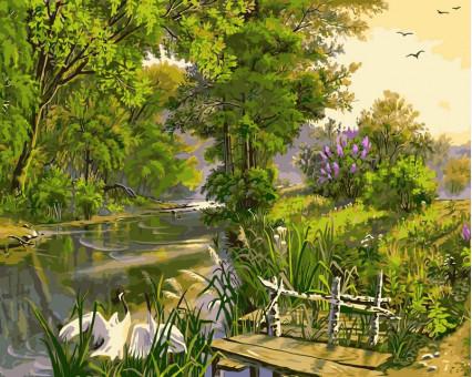 VP167 картина по номерам У реки DIY Babylon