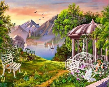 VP168 картина по номерам Беседка в горах DIY Babylon фото набора