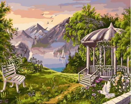 VP168 картина по номерам Беседка в горах DIY Babylon