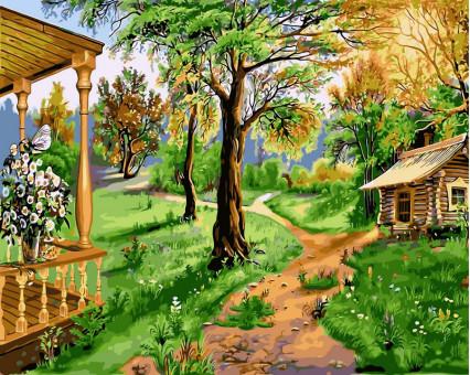 VP174 картина по номерам Домик на природе DIY Babylon