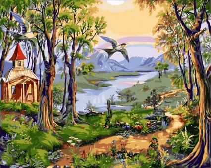 VP179 Раскраска по цифрам Маленькая церковь в лесу Турбо