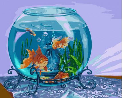 VP188 Рисование по цифрам Золотые рыбки Турбо