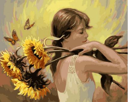 VP203 картина по номерам Девушка с подсолнухами DIY Babylon