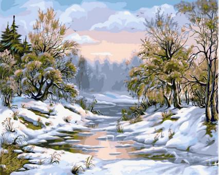 VP207 картина по номерам Заснеженная речка DIY Babylon
