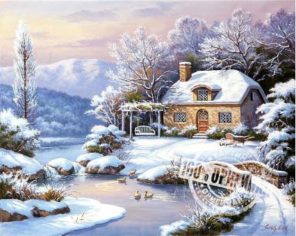 VP208 картина по номерам Зимний домик DIY Babylon фото набора