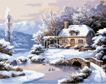 VP208 картина по номерам Зимний домик DIY Babylon