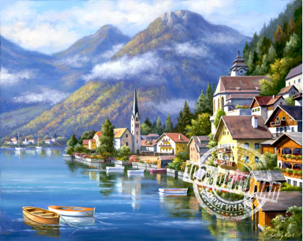 VP218 картина по номерам Альпийская деревня DIY Babylon фото набора