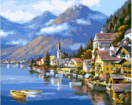 VP218 картина по номерам Альпийская деревня DIY Babylon