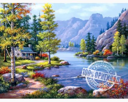 VP220 картина по номерам Домик у ручья DIY Babylon фото набора