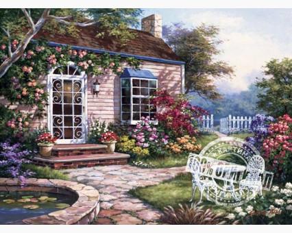 VP229 картина по номерам Домик в цветах DIY Babylon фото набора
