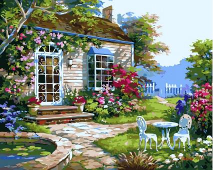 VP229 картина по номерам Домик в цветах DIY Babylon