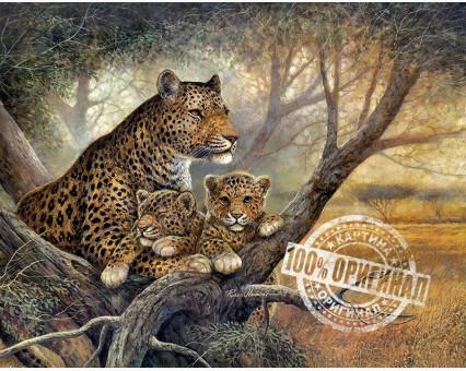 VP238 картина по номерам Леопард с детенышами DIY Babylon фото набора