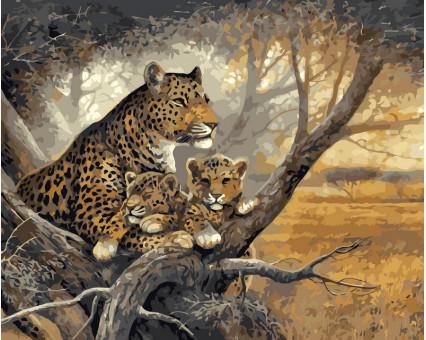 VP238 картина по номерам Леопард с детенышами DIY Babylon