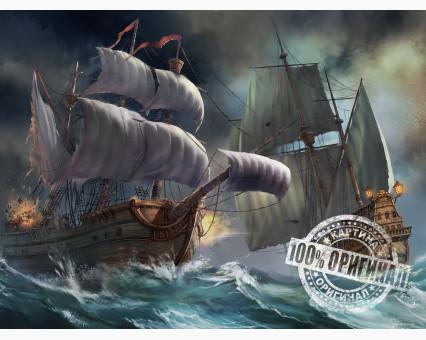 VP257 картина по номерам Сражение кораблей во время шторма DIY Babylon фото набора