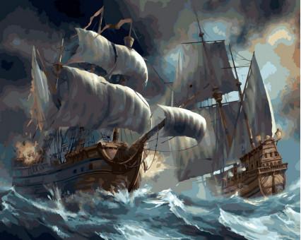 VP257 картина по номерам Сражение кораблей во время шторма DIY Babylon