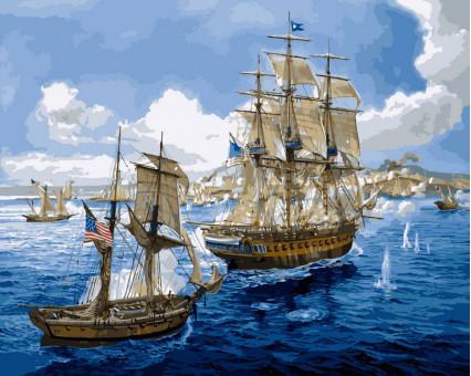 VP259 картина по номерам Морское сражение DIY Babylon
