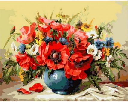 VP294 картина по номерам Маки с полевыми цветами DIY Babylon