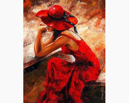 VP312 картина по номерам Женщина в красном DIY Babylon фото набора