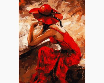 VP312 картина по номерам Женщина в красном DIY Babylon