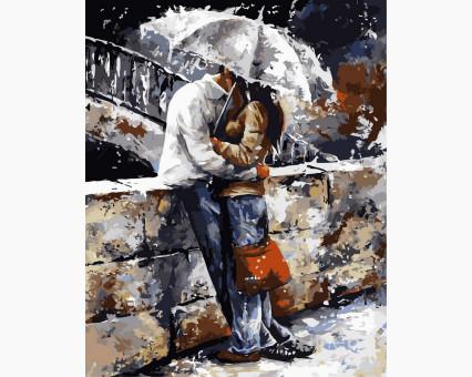 VP314 картина по номерам Любовь под дождем DIY Babylon