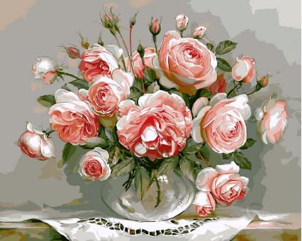 VP327 картина по номерам Розовый букет DIY Babylon