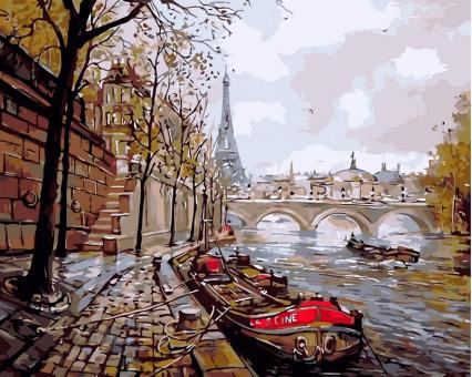 VP343 картина по номерам Набережная Парижа DIY Babylon