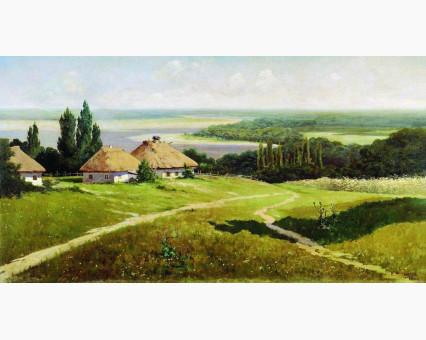 VP352 картина по номерам Украинский пейзажс хатами DIY Babylon фото набора