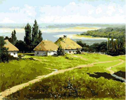 VP352 картина по номерам Украинский пейзажс хатами DIY Babylon