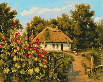 VP354 картина по номерам Сельская хатка DIY Babylon
