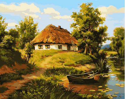 VP356 картина по номерам Домик возле пруда DIY Babylon