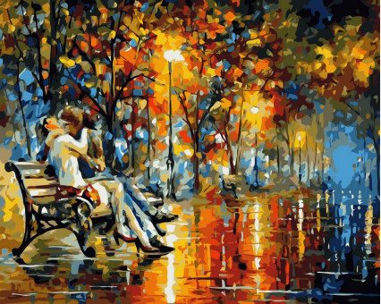 VP359 картина по номерам Поцелуй на скамейке DIY Babylon