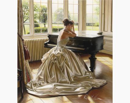 VP375 картина по номерам Девушка у рояля DIY Babylon