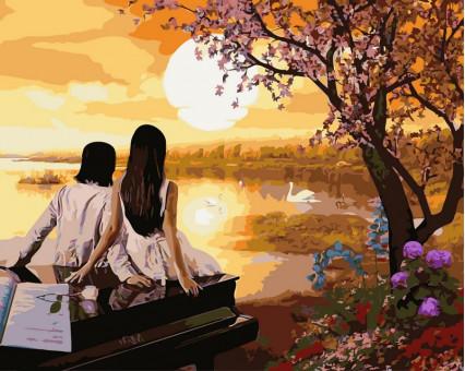 VP380 картина по номерам Закат в раю DIY Babylon