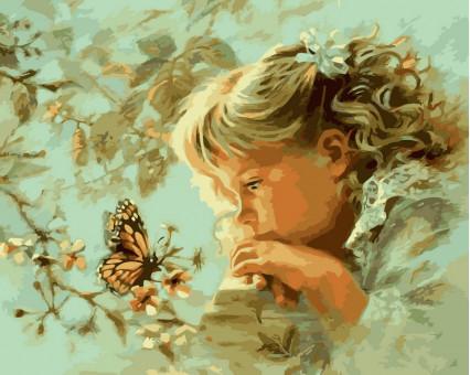 VP384 картина по номерам Наблюдая за бабочкой DIY Babylon